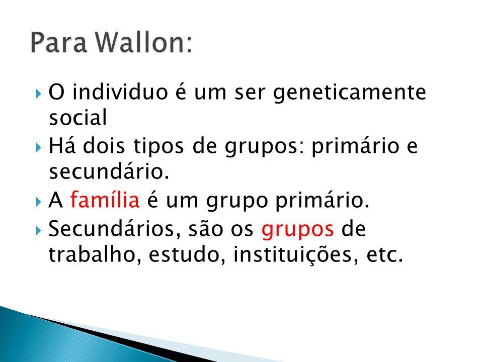 Para Wallon: O individuo é um ser geneticamente social