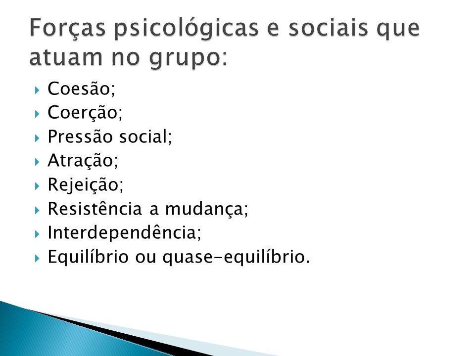Forças psicológicas e sociais que atuam no grupo:
