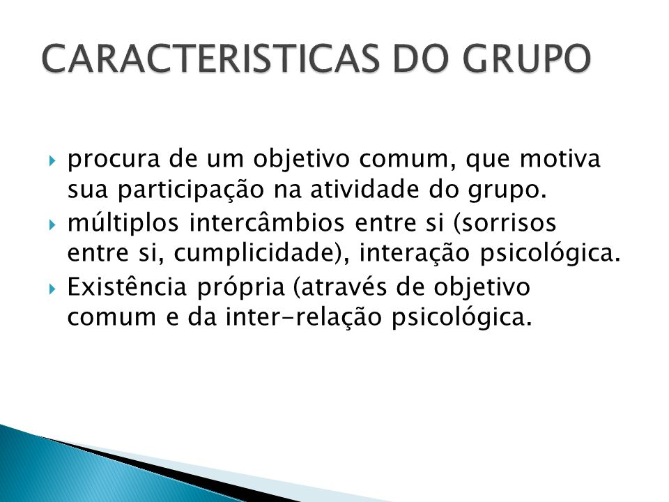 CARACTERISTICAS DO GRUPO