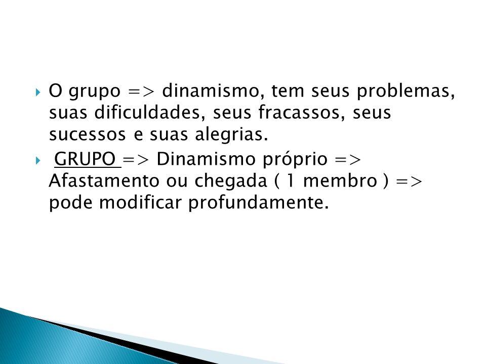 O grupo => dinamismo, tem seus problemas, suas dificuldades, seus fracassos, seus sucessos e suas alegrias.