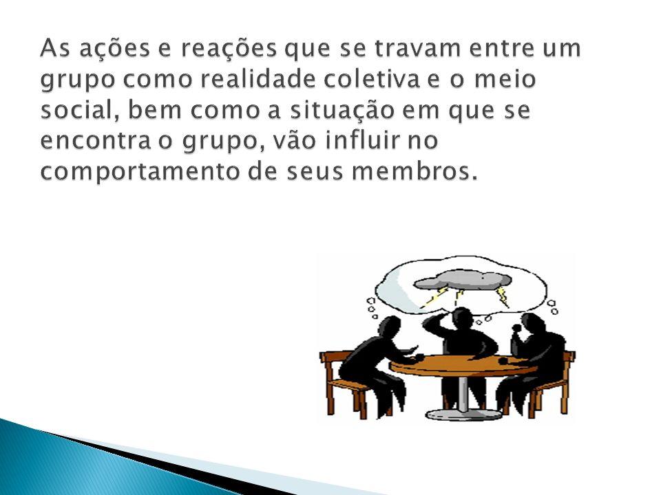 As ações e reações que se travam entre um grupo como realidade coletiva e o meio social, bem como a situação em que se encontra o grupo, vão influir no comportamento de seus membros.