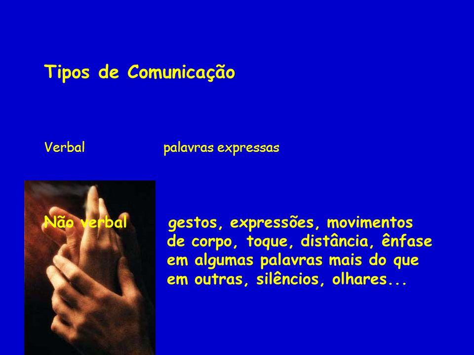 Tipos de Comunicação Não verbal gestos, expressões, movimentos
