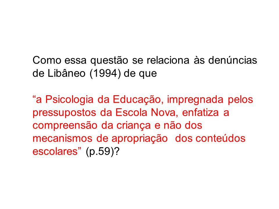 Como essa questão se relaciona às denúncias de Libâneo (1994) de que