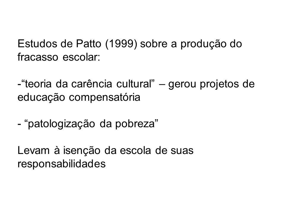 Estudos de Patto (1999) sobre a produção do fracasso escolar:
