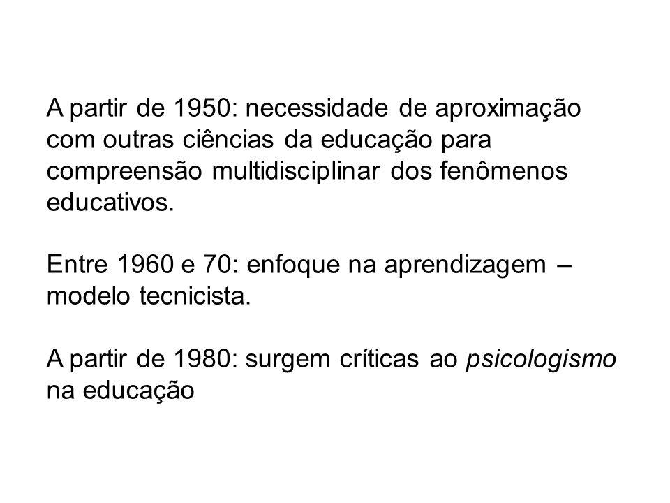A partir de 1950: necessidade de aproximação com outras ciências da educação para compreensão multidisciplinar dos fenômenos educativos.