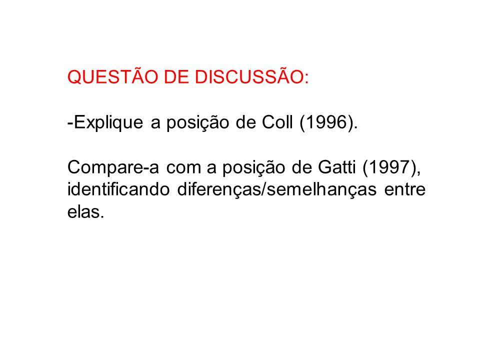 QUESTÃO DE DISCUSSÃO: Explique a posição de Coll (1996).