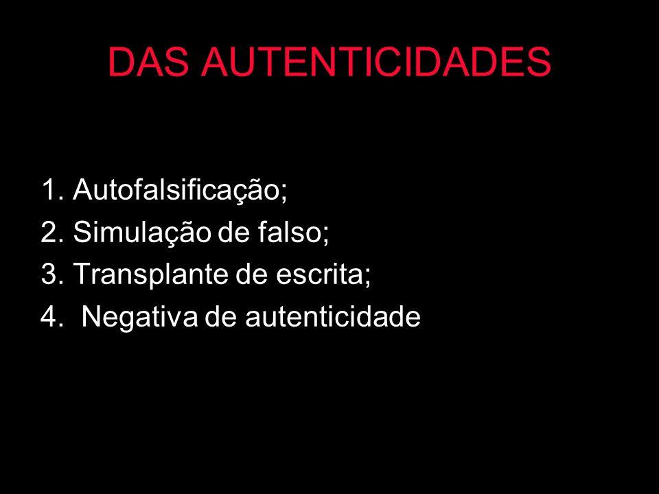DAS AUTENTICIDADES 1. Autofalsificação; 2. Simulação de falso;