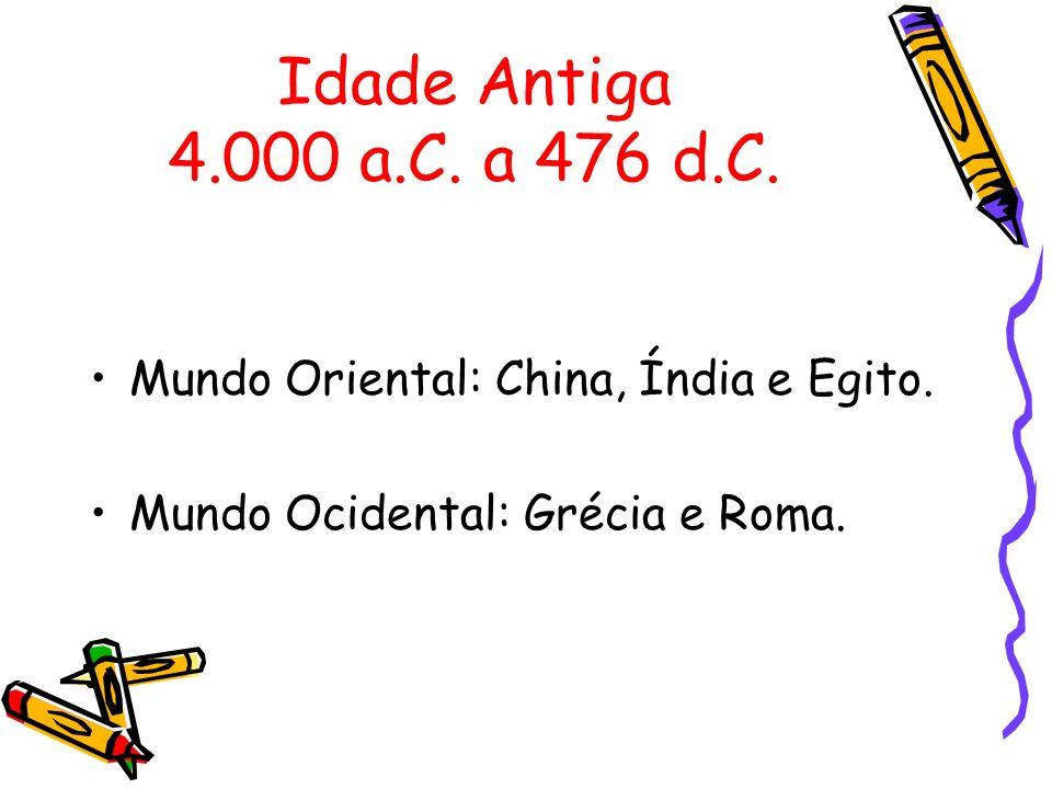 Idade Antiga 4.000 a.C.a 476 d.C.Mundo Oriental: China, Índia e Egito.