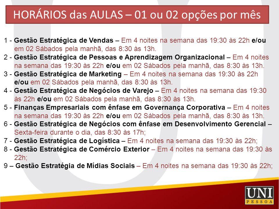 HORÁRIOS das AULAS – 01 ou 02 opções por mês