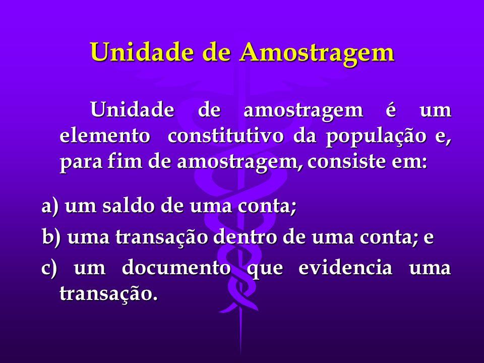 Unidade de Amostragem Unidade de amostragem é um elemento constitutivo da população e, para fim de amostragem, consiste em:
