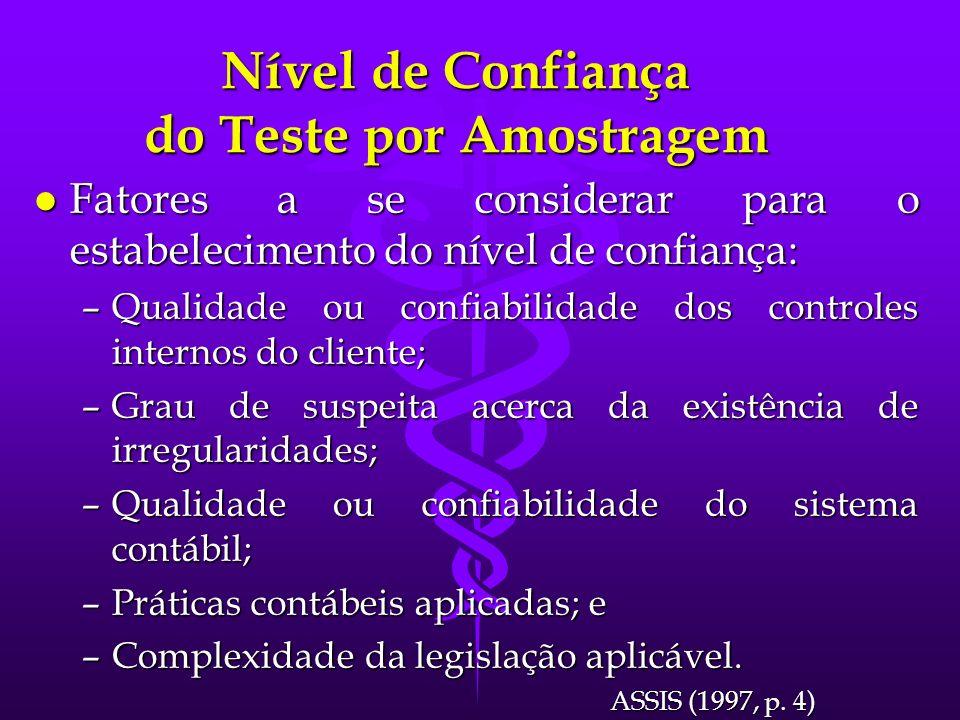 Nível de Confiança do Teste por Amostragem