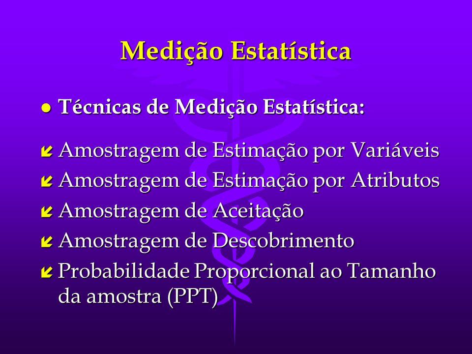 Medição Estatística Técnicas de Medição Estatística: