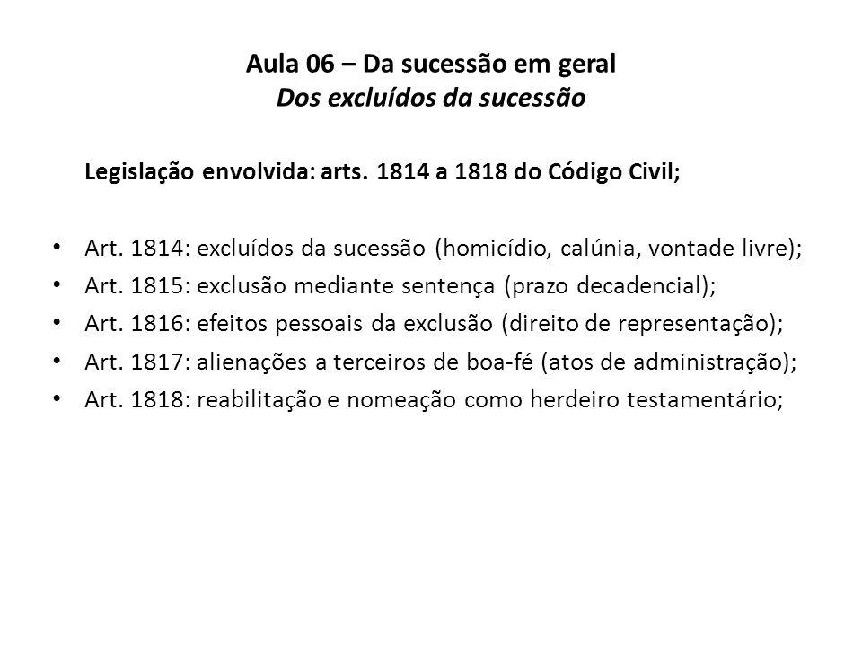 Aula 06 – Da sucessão em geral Dos excluídos da sucessão