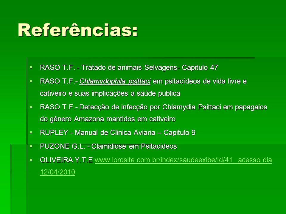 Referências: RASO T.F. - Tratado de animais Selvagens- Capitulo 47