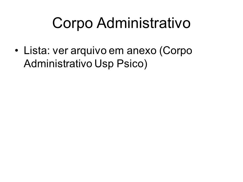 Corpo Administrativo Lista: ver arquivo em anexo (Corpo Administrativo Usp Psico)