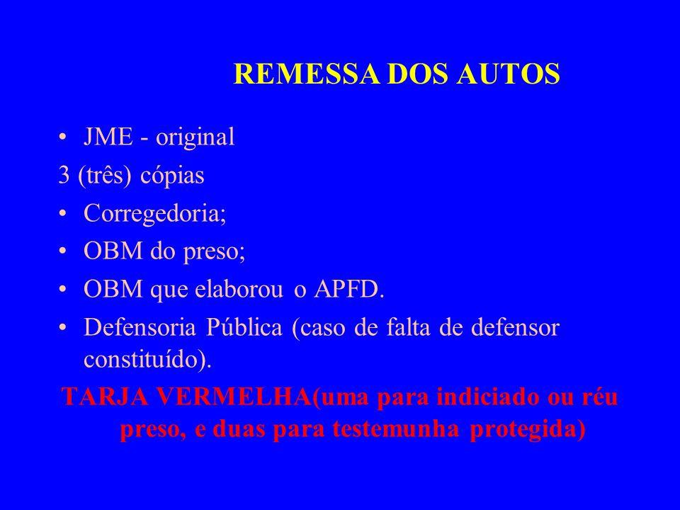 REMESSA DOS AUTOS JME - original 3 (três) cópias Corregedoria;