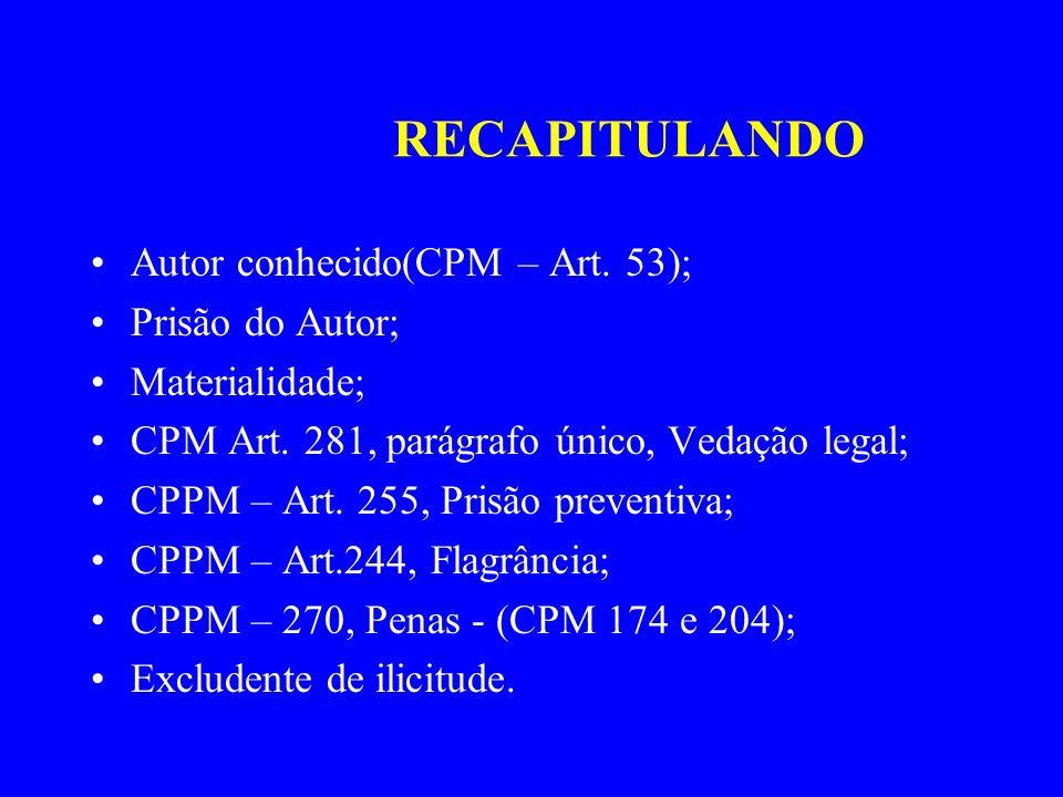 RECAPITULANDO Autor conhecido(CPM – Art. 53); Prisão do Autor;