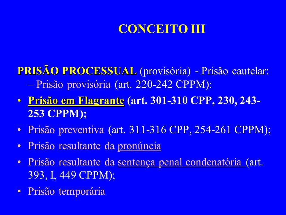 CONCEITO III PRISÃO PROCESSUAL (provisória) - Prisão cautelar: – Prisão provisória (art. 220-242 CPPM):