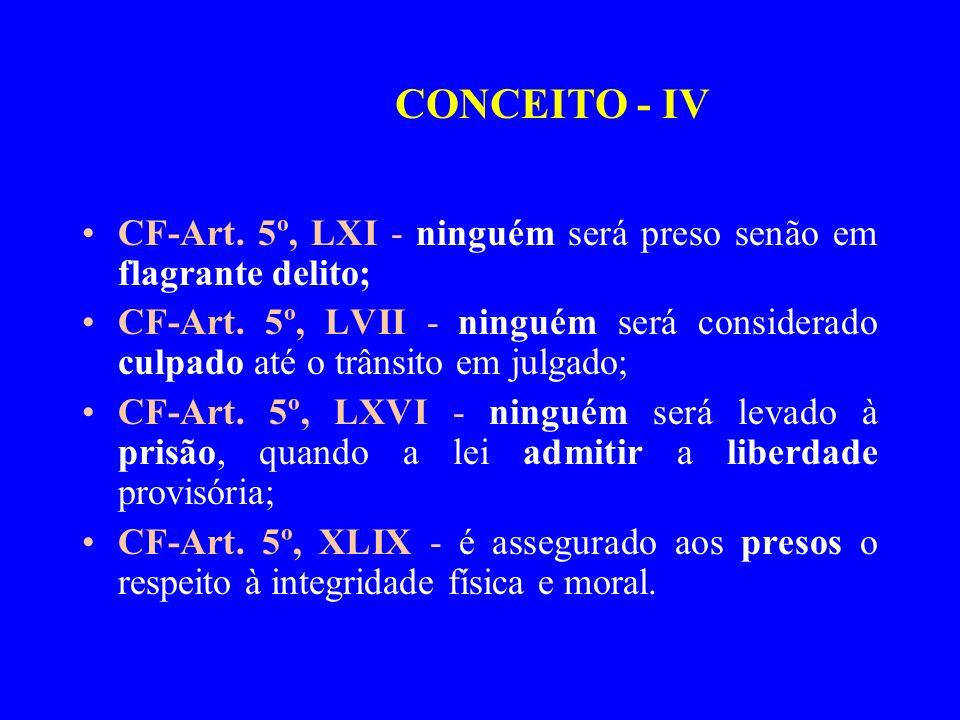 CONCEITO - IV CF-Art. 5º, LXI - ninguém será preso senão em flagrante delito;