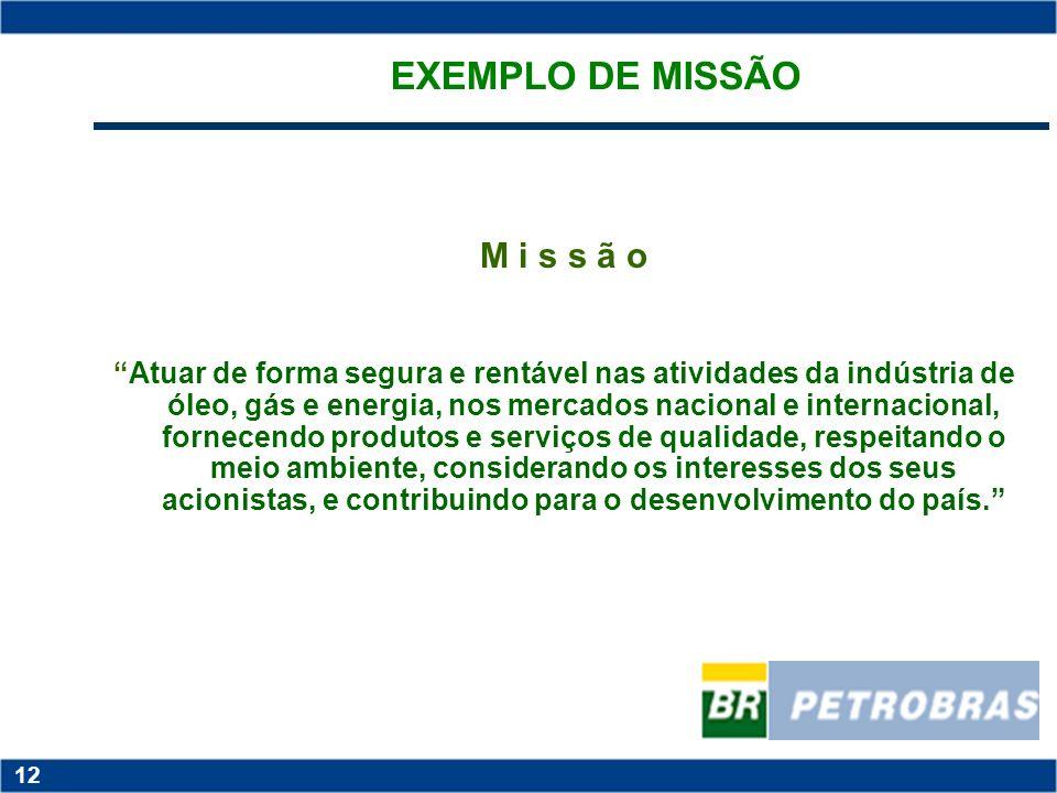 EXEMPLO DE MISSÃO M i s s ã o