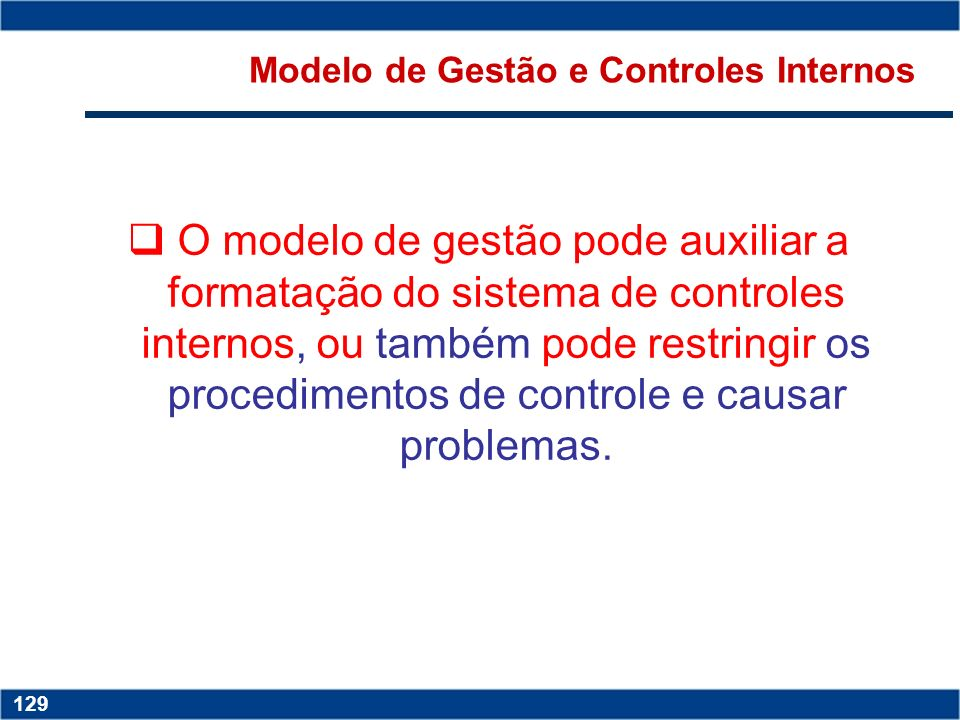 Modelo de Gestão e Controles Internos