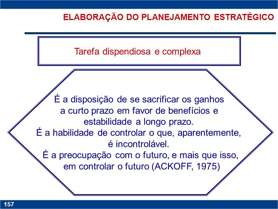 ELABORAÇÃO DO PLANEJAMENTO ESTRATÉGICO