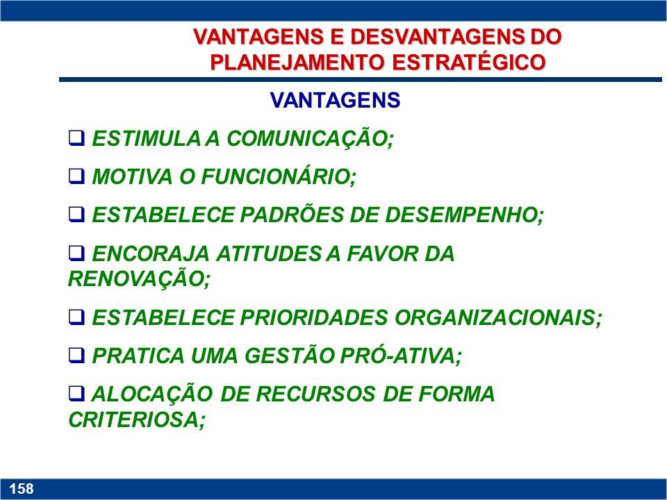 VANTAGENS E DESVANTAGENS DO PLANEJAMENTO ESTRATÉGICO