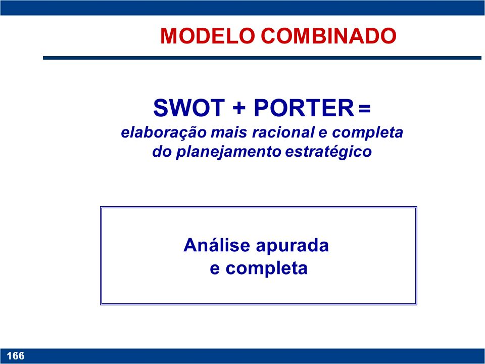 MODELO COMBINADOSWOT + PORTER = elaboração mais racional e completa do planejamento estratégico. Análise apurada.