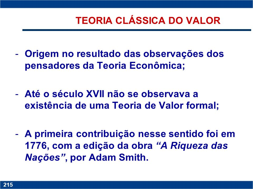 TEORIA CLÁSSICA DO VALOR