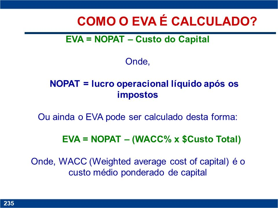 COMO O EVA É CALCULADO EVA = NOPAT – Custo do Capital Onde,
