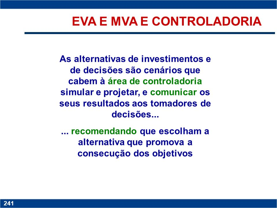 EVA E MVA E CONTROLADORIA
