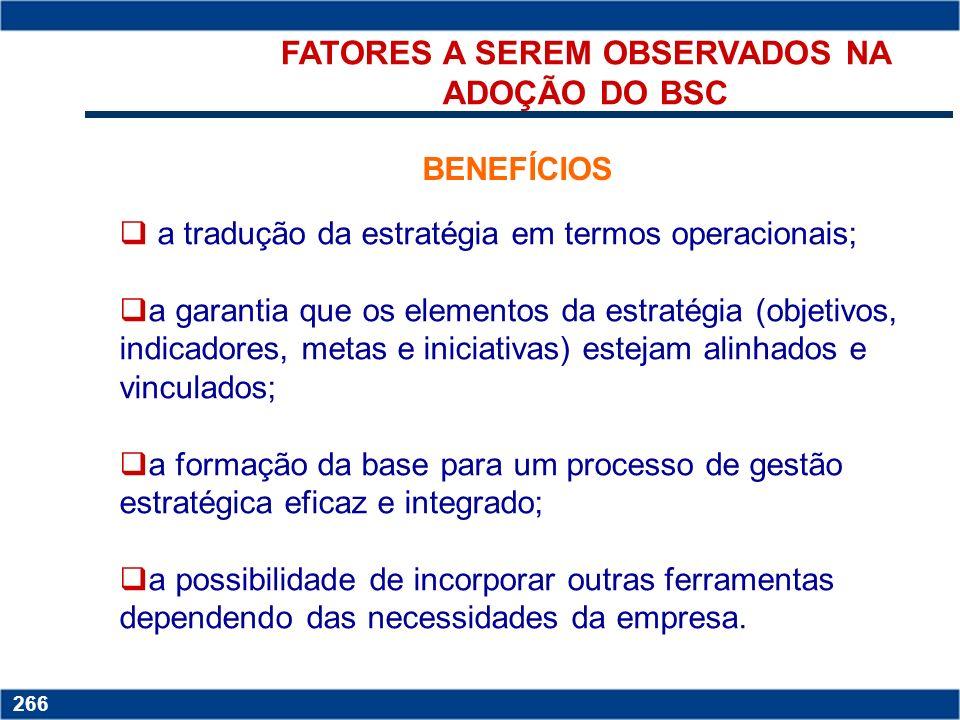 FATORES A SEREM OBSERVADOS NA ADOÇÃO DO BSC