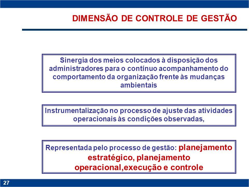 DIMENSÃO DE CONTROLE DE GESTÃO