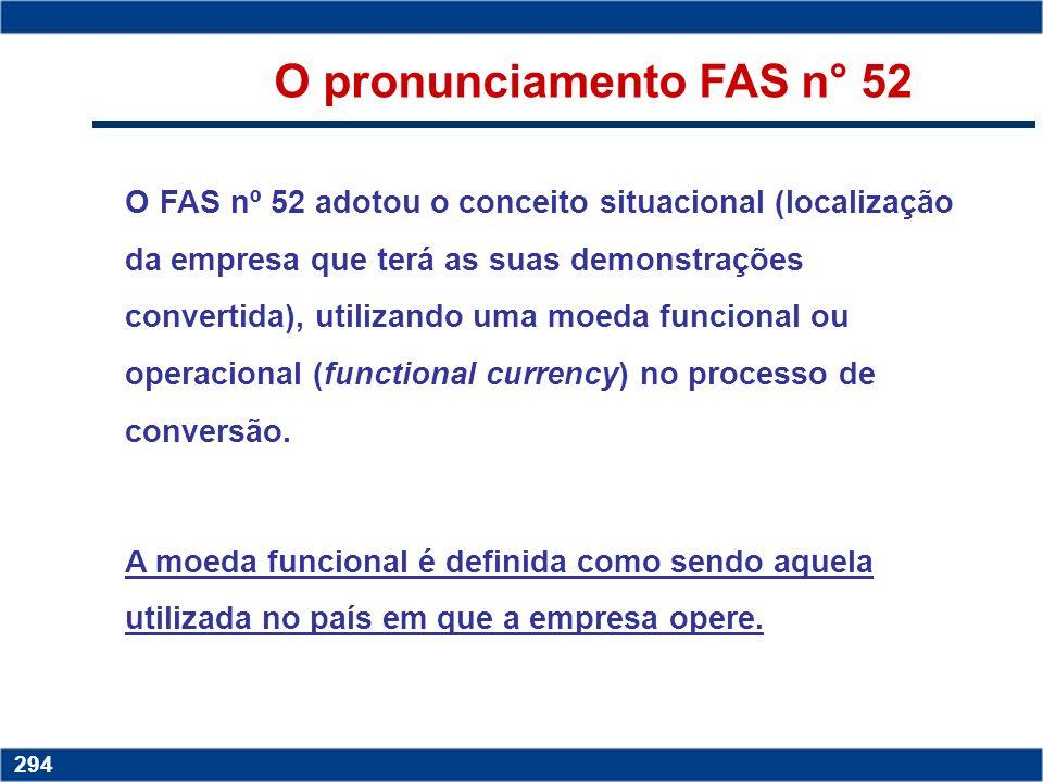 O pronunciamento FAS n° 52