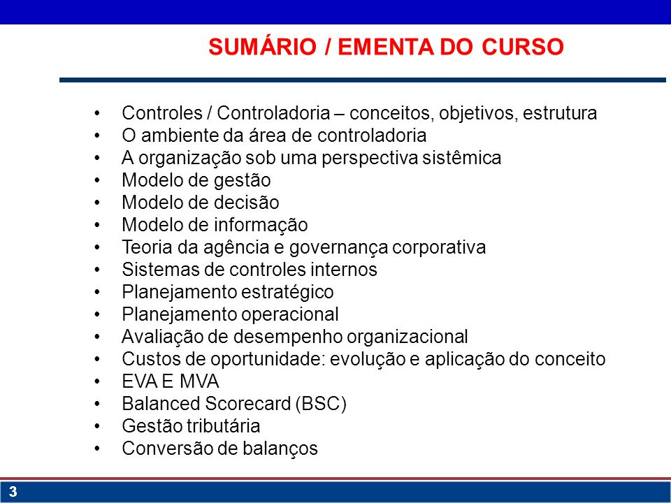 SUMÁRIO / EMENTA DO CURSO