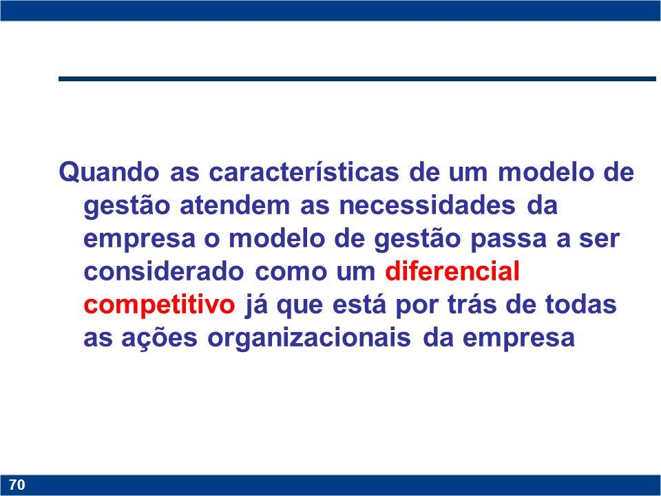 Quando as características de um modelo de gestão atendem as necessidades da empresa o modelo de gestão passa a ser considerado como um diferencial competitivo já que está por trás de todas as ações organizacionais da empresa