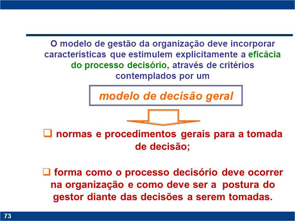 normas e procedimentos gerais para a tomada de decisão;