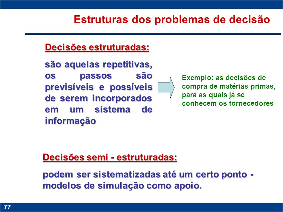 Estruturas dos problemas de decisão