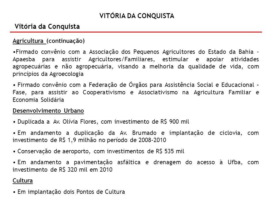 Vitória da Conquista Agricultura (continuação)