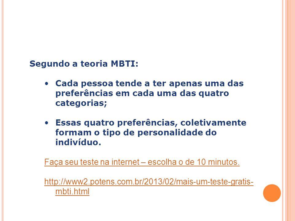 Segundo a teoria MBTI: Cada pessoa tende a ter apenas uma das preferências em cada uma das quatro categorias;