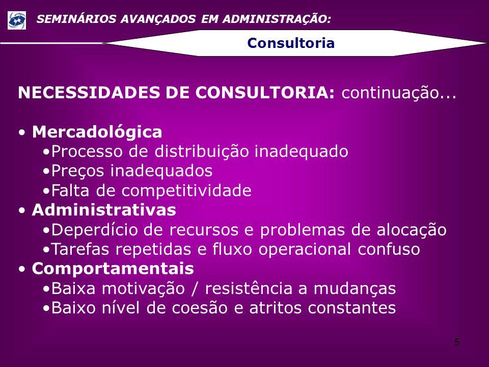 NECESSIDADES DE CONSULTORIA: continuação... Mercadológica