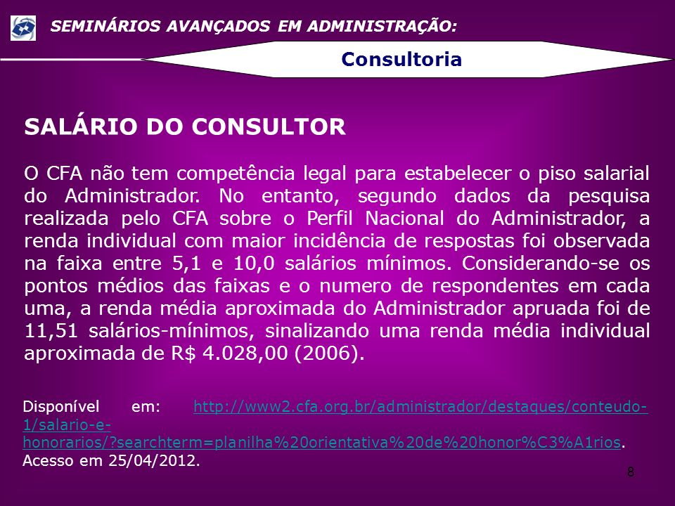 SALÁRIO DO CONSULTOR Consultoria