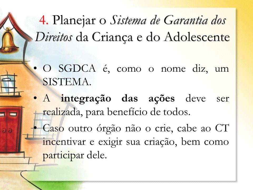 4. Planejar o Sistema de Garantia dos Direitos da Criança e do Adolescente