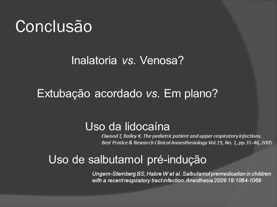 Conclusão Inalatoria vs. Venosa Extubação acordado vs. Em plano