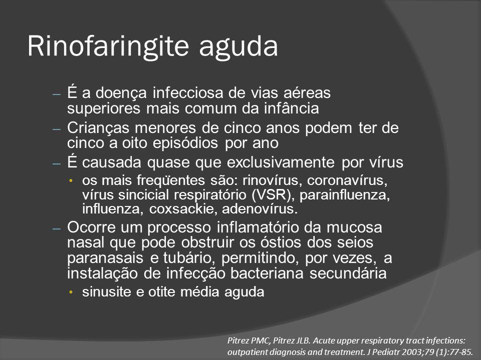 Rinofaringite aguda É a doença infecciosa de vias aéreas superiores mais comum da infância.