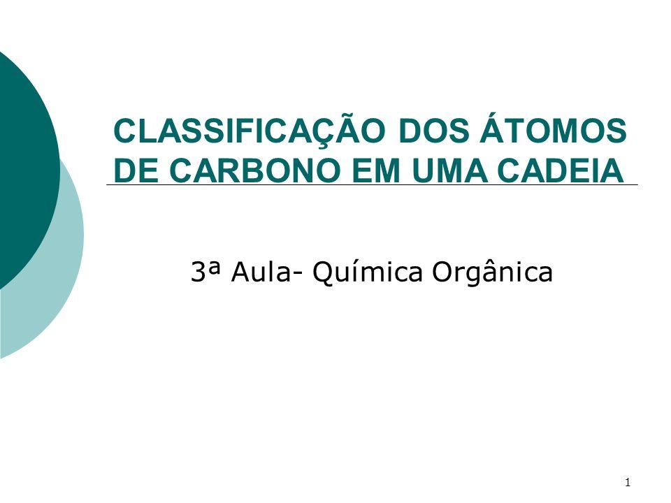 CLASSIFICAÇÃO DOS ÁTOMOS DE CARBONO EM UMA CADEIA