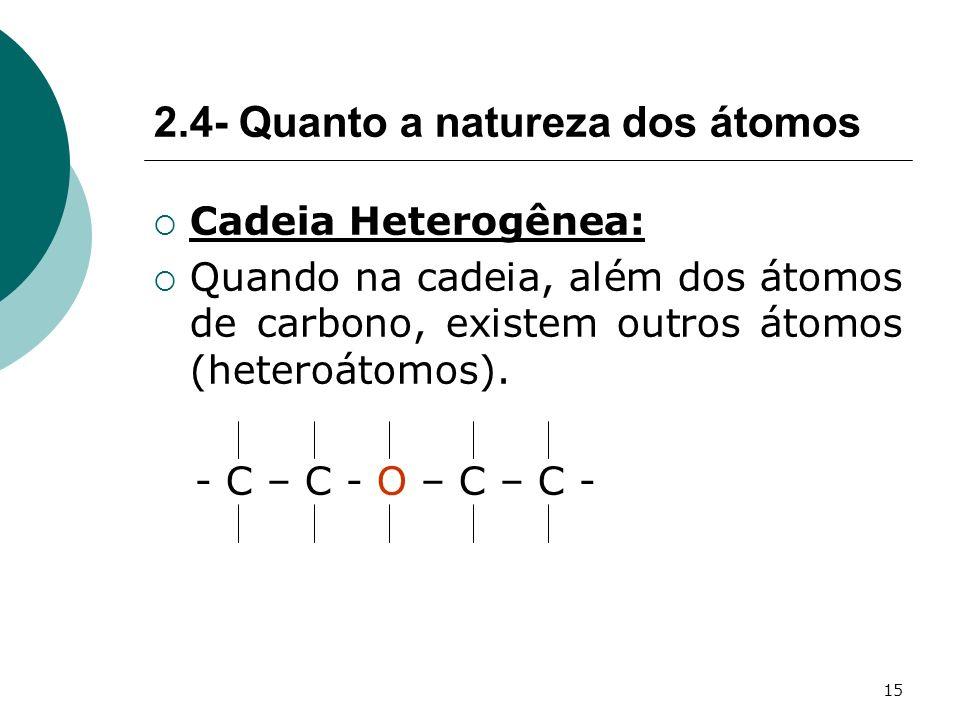 2.4- Quanto a natureza dos átomos