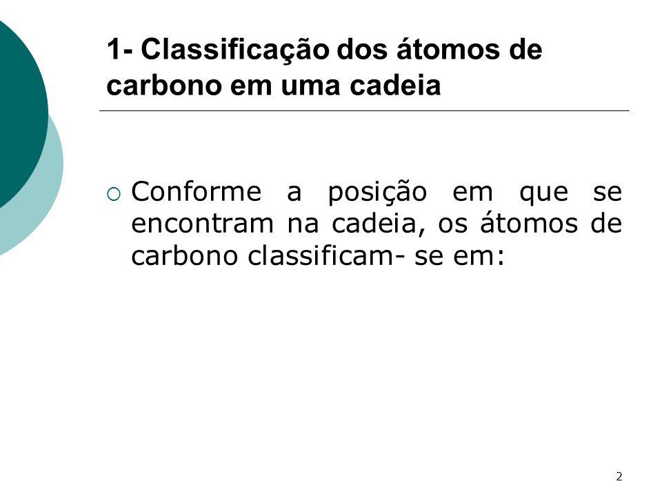 1- Classificação dos átomos de carbono em uma cadeia