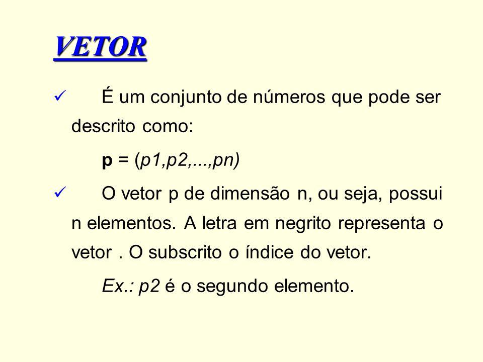 VETOR É um conjunto de números que pode ser descrito como: