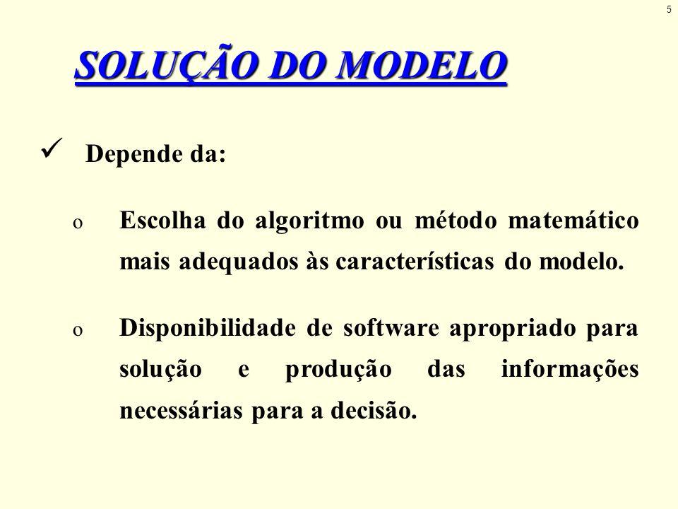 SOLUÇÃO DO MODELO Depende da: